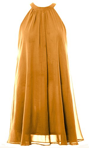 Chiffon Wedding Bridesmaid Dress MACloth Party Gown Halter Short Gold Women Cocktail EnTIq4