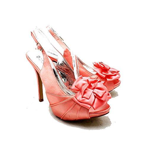 Señoras roseta peep toe honda espalda dama de honor / zapatos del partido satén de coral