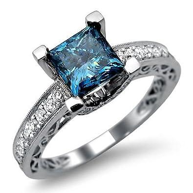 1.90ct Princess Cut Blue Diamond Engagement Ring 18k White Gold