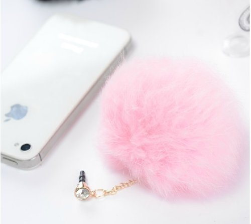 Poposh Pompon Ball Anti Dust Plug Earphone Cap Jack Headphone Port Stopper Caps -