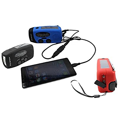 iRonsnow IS-088+ Solar Hand Crank Radio AM/FM/NOAA/WB Weather Radio, Dynamo LED Flashlight 1000mAh Emergency Power Bank for iPhone/Android Smart Phone by iRonsnow