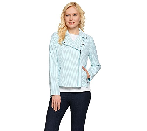 Isaac Mizrahi Seersucker Motorcycle Jacket Zip Pockets Turquoise 12 New A275491 Seersucker Zip Jacket