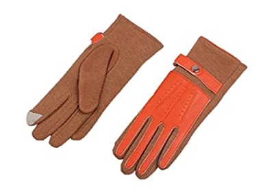 Veenajo Womens Winter PU Leather Knit Cloth Bicolor Thick Fleece Screen Touch Gloves