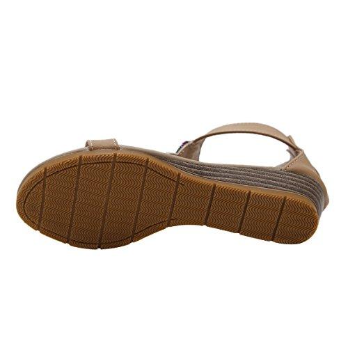 Kjære Tiden Kvinner Gladiator Thong Sandaler Sommer Bohem Ankel Strap Kile Flip Flop Aprikos Flip Flop