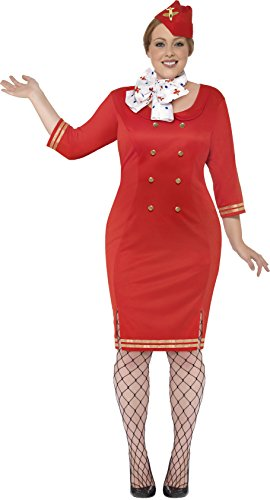 Smiffy's Women's Air Hostess Costume, Dress, Neck scarf and Hat, Icons and Idols, Serious Fun, Size 14-16, 24638
