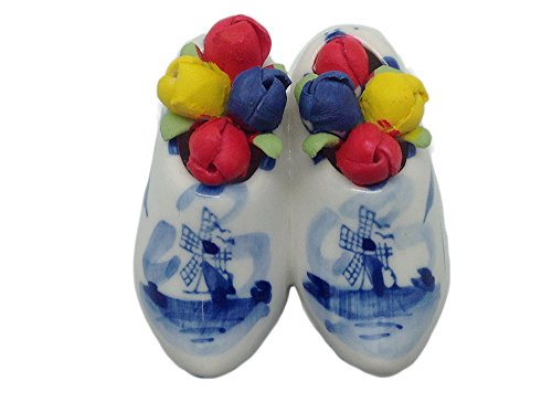 Magnet Gifts Delft Wooden Shoes with Tulips (2.5