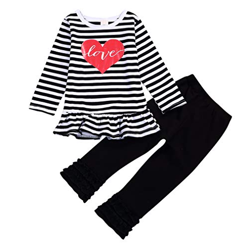66e712140f27 Valentine s Day Toddler Baby Girl Clothes Love Heart Dress Stripe Long  Sleeve Outfits Ruffle Pant Set