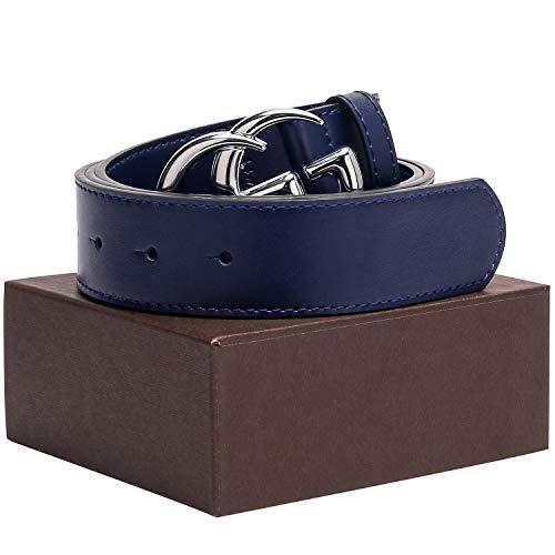 Silver Buckle Multiple Colors Leather Unisex Fashion Belt for Men or Women Pants Jeans Shorts Dresses ~ 3.8cm Belt Width (Silver buckle & blue belt, 105cm(Waist 34