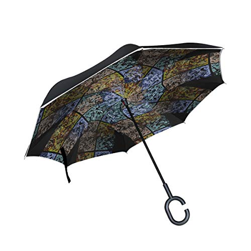 (RYUIFI Double Layer Inverted Multi Color Tile Twirl Octagon Pattern Colorful Umbrellas Reverse Folding Umbrella Windproof Uv Protection Big Straight Umbrella for Car Rain Outdoor with C-Shaped Handle)