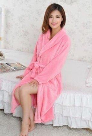 Hylong Band New Distaff Lady loosen Long Sleepwear Comfortable Robes Coral Fleece Spa Bathrobe Pink one size by Hylong (Image #3)