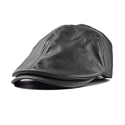 Usstore Women's Men hat Ski Vintage Faux Leather Beret Cap Peaked Hat Newsboy Sunscreen Cap