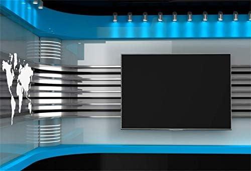 CdHBH - Telón de fondo de vinilo para sala de noticias, 10 x 8 pies, con micrófono, rayas coloridas, para radiodifusión, televisión, fotografía, fondo de televisión, programación, carteles de vídeo en vivo,