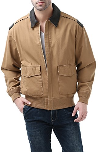 - Landing Leathers Mens A-2 Lightweight Windbreaker Cotton Bomber Jacket,Tan,Medium