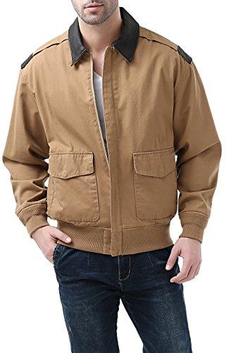 Leather Tan Coat - Landing Leathers Mens A-2 Lightweight Windbreaker Cotton Bomber Jacket,Tan,Medium