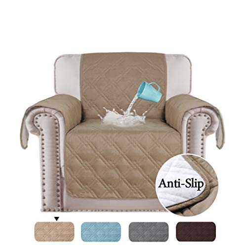 H.VERSAILTEX 100% Waterproof Chair Cover for Dining Room Living Room Non Slip Furniture Protector Water Resistant Micro Fabric Pet Cover Slipcovers (Chair: Taupe) Thick & Durable - 75