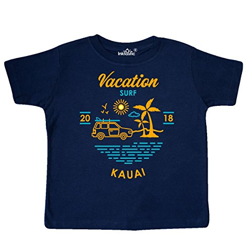 inktastic 2018 Vacation Surf Kauai Toddler T-Shirt 2T Navy Blue