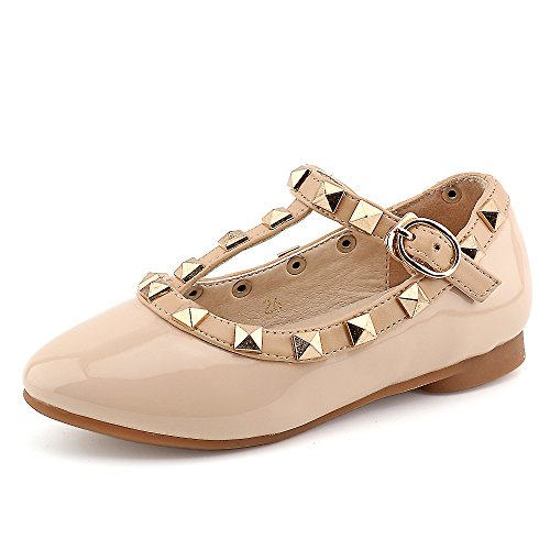 CCTWINS KIDS Toddler Little Kid Baby Girl Studded T-Strap Flat Shoes for Child(G358-nude-27)]()