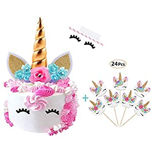 Cocadant Unicorn Cake Topper with Eyelashes and 24 Pieces Double Sided Rainbow Unicorn Cupcake Toppers set for for Birthday Party, Wedding, Baby Shower