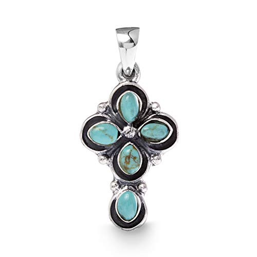 WILLOWBIRD Simulated Turquoise Cross Pendant In Oxidized 925 Sterling Silver