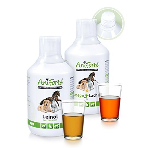 AniForte Barf-Öl Set 2 mit je 500ml Leinöl und Lachsöl - Naturprodukt für Hunde und Katzen