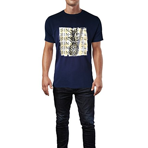 SINUS ART® Ananas Print mit Rauten Hintergrund Herren T-Shirts in Navy Blau Fun Shirt mit tollen Aufdruck
