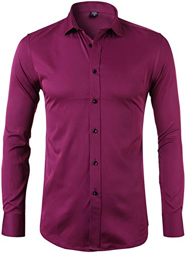 INFLATION Mens Bamboo Fiber Dress Shirts Slim Fit Short Sleeve Casual Button Down Shirts, Elastic Formal Shirts, Wine Red, 17