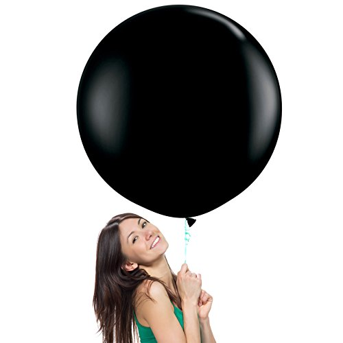 (36 Inch (3 ft) Giant Jumbo Latex Balloons (Premium Helium Quality), Pack of 6, Round Shape - Onyx Black, for Photo Shoot/Birthday/Wedding Party/Festival/Event/Carnival)
