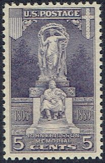 628 Violet - United States Commemorative Issue Stamp Scott # 628 Mint Unused Very Fine Centering Never Hinged 5 cent Violet Ericsson Memorial 1926