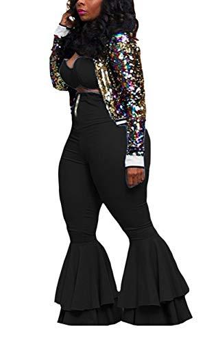 Bluewolfsea Women Sexy 2 Piece Outfits Cute Crop Top + High Waist Ruffle Bell Bottom Pants Set (XX-Large, Black)