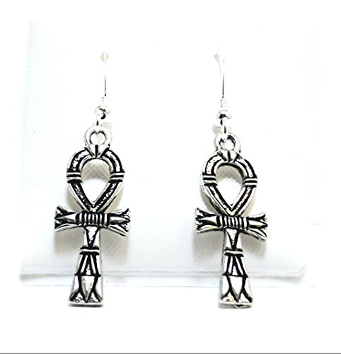 Pewter Ankh Charms on Hypoallergenic French Hook Dangle Earrings