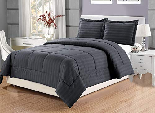 Hemau 3 Piece Luxury Grey Dobby Stripe Reversible Goose Set, Full Size with Corner Tab Duvet Insert, Hypoallergenic, Plush Siliconized Fiberfill, Box Stitched | Style 503194514