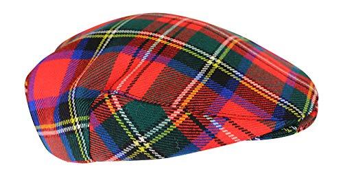(House of Edgar 100% Regimental Heavy Weight Scottish Tartan Winter Wool Flat Cap - Prince Charles Edward Stuart)