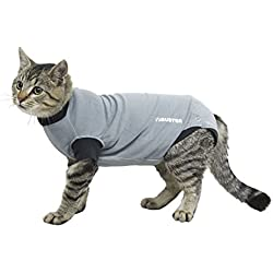 """Kruuse Buster Body Suit for Cats, Grey/Black, 16""""/Size X-Small"""