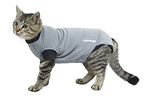 Kruuse Buster Body Suit for Cats, Grey/Black,