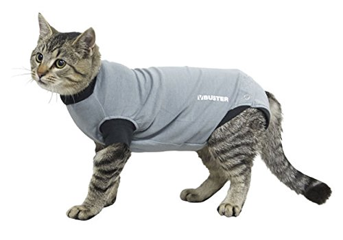 Body Cat - Kruuse Buster Body Suit for Cats, Grey/Black, 17.5
