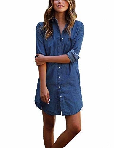 Yidarton Women Button Pocket Sleeve
