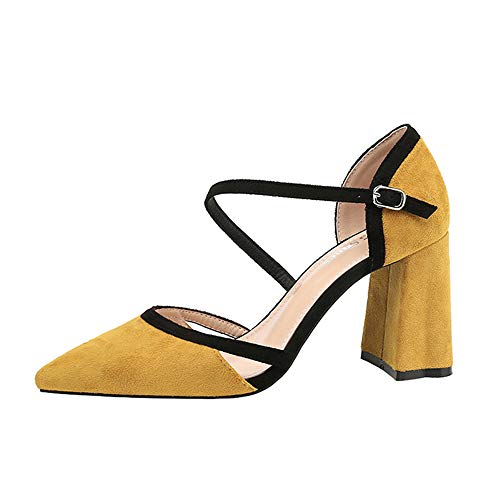 Work Yellow Renly Party Ankle Strap Dress Stiletto Womens Pumps Suede Shoes qRqg7
