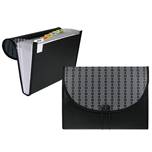 C-Line 7-Pocket Expanding File, Includes Tabs, Letter Size, 1 Expanding File, Fashion Circle Series, Black/Gray - 6 File Pockets