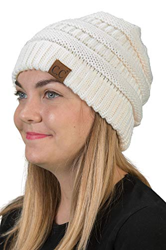 (H-6020a-25 Solid Ribbed Beanie - Ivory)
