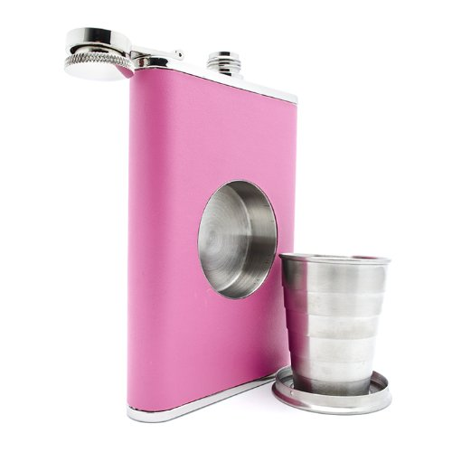 The Original Shot Flask - 8oz Hip Flask with a Built-in Collapsible Shot Glass - Stainless Steel with Premium Bonded Leather Wrapping (Pink) (Pink Leather Flask)