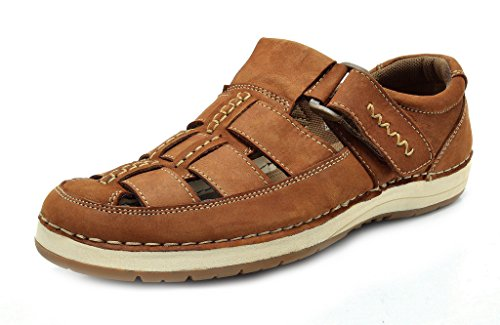 BRUNO MARC HAVANA-01 New Men's Casual and Outdoor Adjustable Strap Summer Fisherman Sandals TAN NUBUCK-SIZE 10