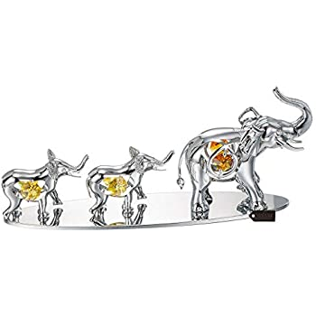 Matashi Silver Plated Elephants Ornament with Crystal Tabletop Centerpiece Home Decor Office Desk Showpiece - Gift for Mother's Day Wedding Anniversary Christmas Birthday Housewarming Present