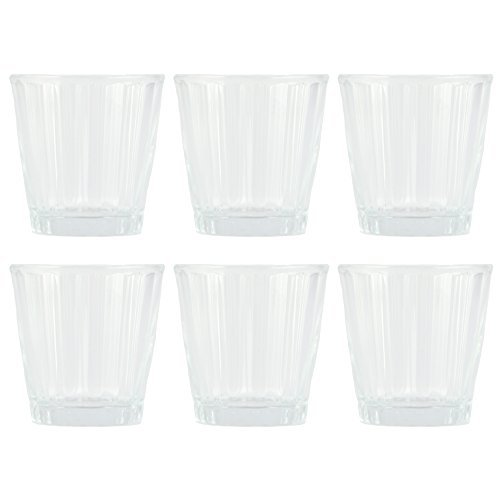 Timeless Settings Set of Six Clear Glass Votive Candle Holders, 3''