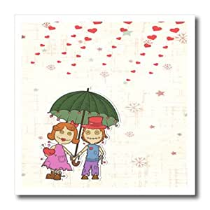 ht_106885_2 Dooni Designs Valentines Day and Love Designs - Cute Valentine Voodoo Dolls Couple Under Umbrella Showered With Hearts Rain Love - Iron on Heat Transfers - 6x6 Iron on Heat Transfer for White Material