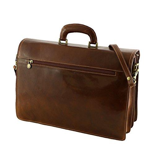 Leder Businesstasche - 4008 Dunkelbraun - Echtes Leder Taschen - Mega Tuscany