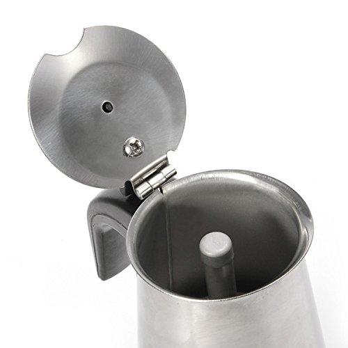 Espresso Coffee Maker Pot Stovetop Moka Coffee Pot Stainless Steel Latte Percolator with Bonus Scoop (2 cups/100ml) by BEMINH (Image #2)