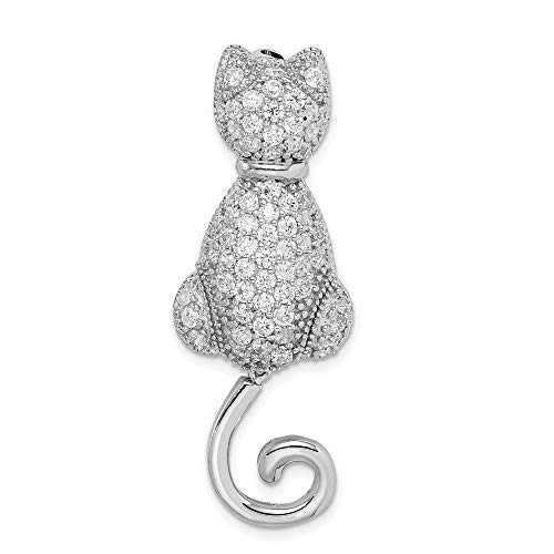 FB Jewels Solid 925 Sterling Silver Rhodium-Plated Cubic Zirconia CZ Cat Pin