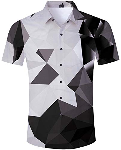 (Loveternal Short Sleeve Button Down Shirts for Men Black 90s Geometric Hawaiian Shirt Grey Geometric Graphics 3D Printed Oversized Aloha Shirts Luau Shirts XXL)