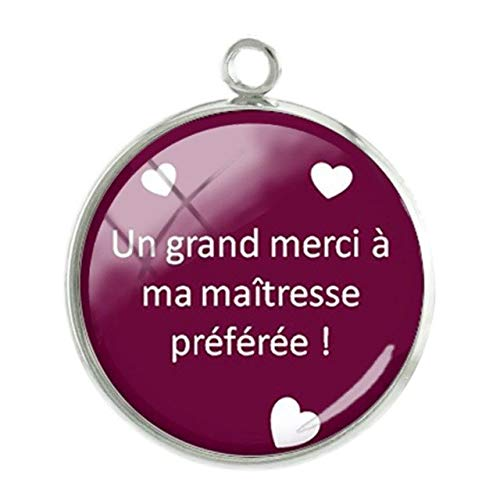 Pendants -1Pc Merci Maitresse Heart Charms Pendants Mother's Day 20Mm Glass Cabochon Dome Handmade Girl Women Gift Jewelry - Ct269