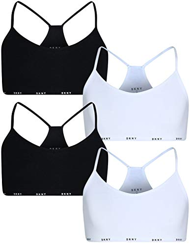 DKNY Girls Cotton/Spandex Racerback Training Sport Bra (4 Pack), White/Black, Size Large / 12-14'